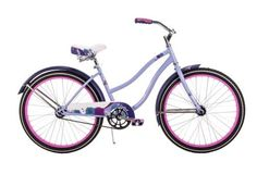 """24"""" Huffy Girls' Cranbrook Cruiser Bike, Lilac: Floral, feminine and super fun, cruising doesn't get any better than on a Huffy Cranbrook. The lavender cruiser features soft flowers mixed with fun patterns for a fresh look from the frame and fenders to the chainguard and saddle. What a perfect way to get in the mood for a ride with friends! The padded spring saddle features embroidery and piping combined with the mix of patterns for the perfect total look!"""