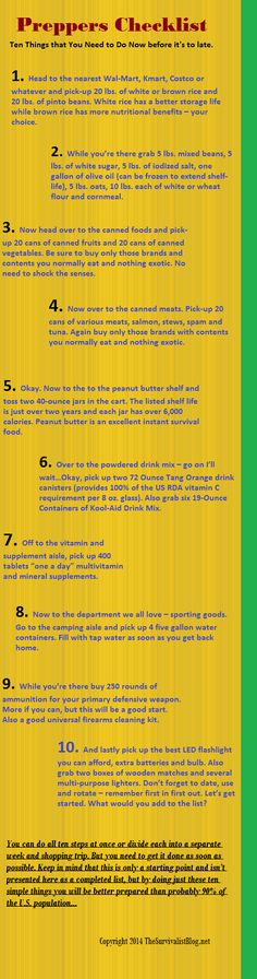 Infographic Ten Things to Do Now! Photo  #preppers #preppertalk #survival