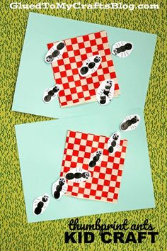 Mixed Media Thumbprint Ants Picnic - Kid Craft