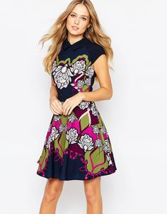 Image 1 ofTed Baker Daywin Surreal Tapestry Skater Dress