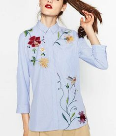 Блузки в полоску с вышивкой купить