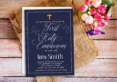 Boy First Communion Invitations, Boys First Communion Invites, Navy Blue First…