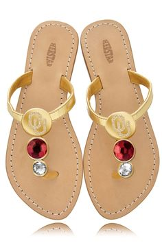 Oklahoma Sooners Ladies Jewel Embellished Flat Sandals – HERSTAR  GREAT FOR SUMMER!