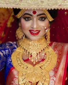 Bangladeshi bride look khan makeover Indian Wedding Bride, Bengali Wedding, Bengali Bride, Indian Wedding Jewelry, South Indian Bride, Bridal Jewelry, Bengali Art, Hindu Bride, Indian Weddings