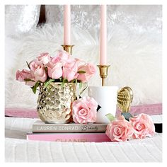 Gorgeous faux roses and gold wing mugs from Coffee Table Styling, Decor, Feminine Decor, Glam Decor, Chic Home Decor, Master Decor, Romantic Colors, Pink Inspiration, Vintage Shabby Chic