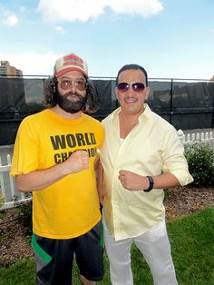 Anthony Rubio and Judah Friedlander at The First Annual Wood Racquet Cup.    The First Annual Wood Racquet Cup at The West Side Tennis Club with host Judah Friedlander from NBC'S hit show 30 Rock. Vintage Tennis. #evianWRC