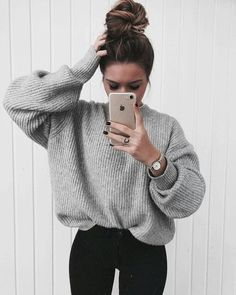 58dcb333f54303 oversized sweaters for the win   outfits   Outfits, Winter outfits ...