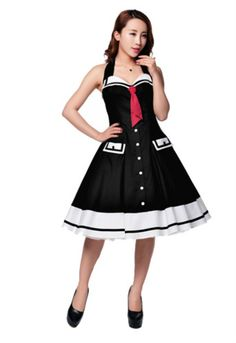 901f351446 Sailor Swing Black Nautical Halter Dress - Modern Grease Clothing and  Accessories Co. Sailor Shirt