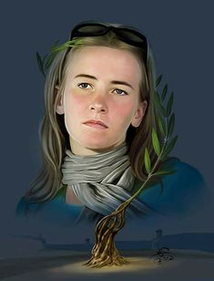 Rachel Corrie April 10, 1979 – March 16, 2003 Rachel Corrie was a 23-year-old American peace activist from Olympia, Washington, who was crushed to death by an Israeli bulldozer on 16 March 2003, while undertaking nonviolent direct action to protect the home of a Palestinian family from demolition. Art by Palestinian artist Emad Abu Shtayyah