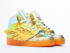 Adidas Originals X Jeremy Scott Foil Wing in Metallic Gold Foil at Solestruck.com