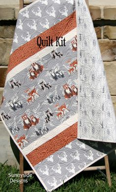 Woodland Quilt Kit, Baby Boy, DIY Project, Forest Animals Hello Bear, Art Gallery Fabrics, Deer Fox, Simple Easy Beginner, Striped Pattern on Etsy, $62.00