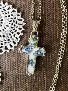 Necklace Broken China Jewelry Broken China Cross Cross