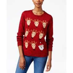 Karen Scott Petite Santa & Reindeer Sweater, ($27) ❤ liked on Polyvore featuring tops, sweaters, new red amore, evening tops, karen scott tops, petite tops, red sweater and red top