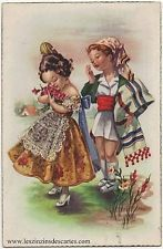 Carte postale ancienne fantaisie Dessin de deux enfants costumes traditionnels