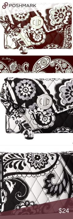 VERA BRADLEY YOUR TURN SMARTPHONE WRISTLET This Wristlet is featured in the RETIRED Midnight Paisley pattern by Vera Bradley. NWOT (we have about 10 of them, collectively 😊) This wristlet has  been my loyal, Vera Bradley,  'go to' piece. Literally all you need! Holds an iPhone 6s Plus w/case comfortably. Comes from a smoke free home. Bundle & save! Vera Bradley Bags Clutches & Wristlets