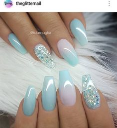 Baby blue nail art with glitter accent nail. Blue manicure, blue mani, coffin nails, coffin acrylic nails