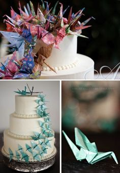 Origami cranes for cake topper - Interesting idea. I do know that I want to make a bunch of cranes. Love them <3