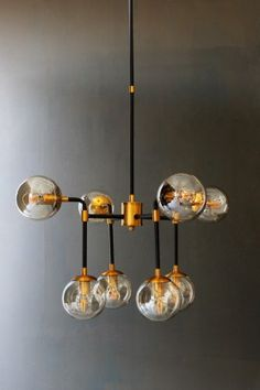 Eight Glass Globe Ceiling Light