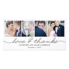 Lovely Writing Wedding Thank You Cards - White Customized Photo Card #zazzle #wedding #weddingthankyou