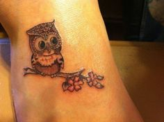 Awesome Owl On Branch Tattoo On Right Foot