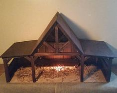 Reclaimed Wood Nativity Stable Creche Handcrafted Manger Barn with side pens Nativity House, Nativity Stable, Nativity Creche, Christmas Nativity Scene, Nativity Scenes, Christmas Ornament, Christmas Crib Ideas, Christmas Wood, Holiday Ideas