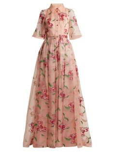 Carolina Herrera Floral-embroidered Silk Gown In Pink Multi Beige Evening Dresses, Floral Evening Dresses, Evening Gowns With Sleeves, Floral Gown, Floral Dresses, Gown Pattern, Dress Vestidos, Silk Gown, Embroidered Silk