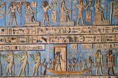 Dendera Temple, Dendera, Qena, Egypt by Andy Hartley Re sails in his solar barque amongst divinities on the astronomical ceiling. I do believe the leftmost of the three lion gods above is Anhur (aka...