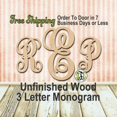 Unfinished Wood 3 Letter Monogram Free Ship Fancy Detached Craft laser cut unpainted wood cut out Custom Personalized Nursery