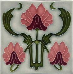 Tile - Reproduction Art Nouveau Tile - porteous nz - Tiles are aprox… Motifs Art Nouveau, Azulejos Art Nouveau, Art Nouveau Tiles, Art Nouveau Design, Ceramic Tile Art, Art Tiles, Vintage Tile, Wassily Kandinsky, Decorative Tile
