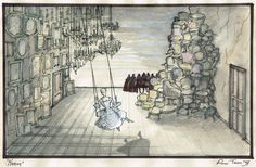 Roni Toren Stage Design - רוני תורן - MANON - E.N.O. -LONDON , 1998 Preliminary Sketch Stage Set Design, Theatre Design, Layered Design, Scenic Design, Hairspray, Sketchbooks, Magazines, How To Draw Hands, Scenery