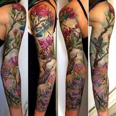 Floral Full Sleeve Tattoo Design for Women.