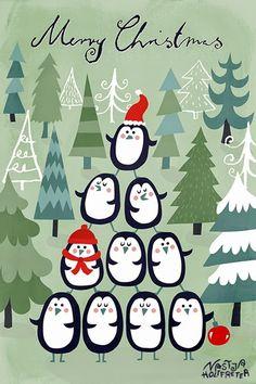 Merry Christmas penguins by Nastja Holtfreter (via Print & Pattern).
