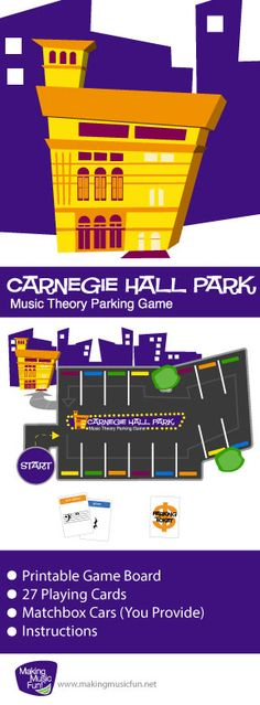 Carnegie Hall Park™ | Free Printable Music Theory Board Game - Students navigate the Carnegie Hall parking lot with their own Matchbox/Hotwheels cars, drilling music symbols and terms - Super Cute!
