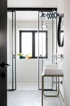 steel stand sink sliding door shower