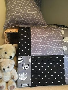 Patchwork Fox on the Run grey black white Designer Range Cot Quilt/Toddler Lap Quilt and Cushion Cover Nursery Bedding Set
