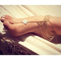 Gold chain foot anklet/ barefoot sandal