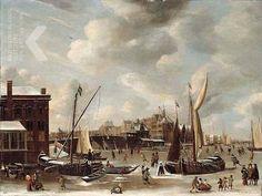 A. Beerstraten, Winters gezicht op de Nieuwe Brug en het Paalhuis in Amsterdam, 1665 (gedateerd)