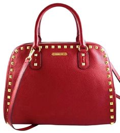 Michael Kors Crossbody Leather Handbag Satchel in Red Pebbled Leather faee3a8e6b5ea