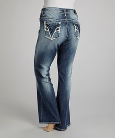 Another great find on #zulily! Medium Wash Feather Chelsea Bootcut Jeans - Plus by Vigoss #zulilyfinds