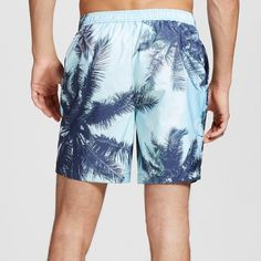 Men's Tropical Swim Trunks Turquoise Blue 38 - Dwg