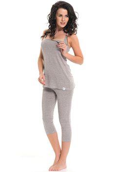 Šedé mateřské pyžamo na kojení Corset, Peplum Dress, Jumpsuit, Pants, Dresses, Fashion, Babydoll Sheep, Overalls, Trouser Pants