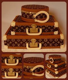 Cake Art! ~ Louis Vuitton suitcases cake for a fashion lover. The Louis Vuitton pattern was hand painted and the entire cake is edible! ~  ~ Vanilla cake with chocolate ganache and salty caramel filing covered with chocolate fondant. All the details are fondant as well.