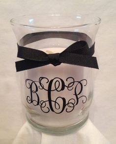 Personalized GLASS CANDLE HOLDER with Monogram, Initial or Name by Pam's Polka Dots, $8.00 each