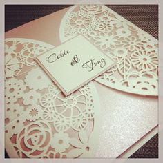 Floral Paper Lace Wedding Invitation  Laser by StunningStationery, $400.00