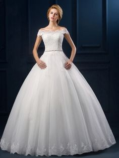 Off the Shoulder Lace Ball Gown Bow Knot Cap Sleeves Wedding Dress & vintage Wedding Dresses