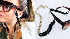 A Fabiana Haverroth Acessórios, loja de Campinas que também vende online, oferece vários modelos, entre eles, o da foto. Custa entre R$55,00 e R$59,00 cada. Eyeglasses, Eyewear, Jewerly, Chain, Stylish, Hair Styles, Sweet, Face, Shop