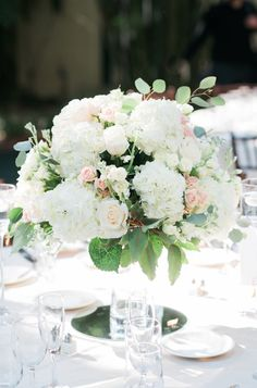 white rose and hydrangea centerpiece