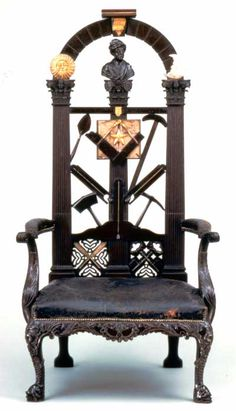 Freemasonry: The Sun and the Moon rise on the Master's Chair made by Benjamin Bucktrout, which bristles with a tool chest's worth of #Masonic symbols.