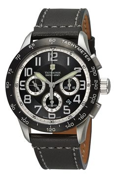 Victorinox Swiss Army Men's 241447 AirBoss Mach 6 Mechanical Black Chronograph Dial Watch ** To view further for this item, visit the image link.