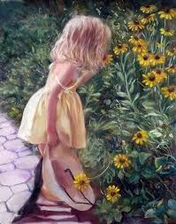 This is an original oil on canvas art painting by American Artist Marie Witte, named 'Daisies' (completed in Fine art prints of the original painting are available for purchase. Watercolor Disney, Watercolor Flowers, Watercolor Art, Black Eyed Susan, Art Themes, Art For Kids, Art Children, Artist Painting, Beautiful Paintings